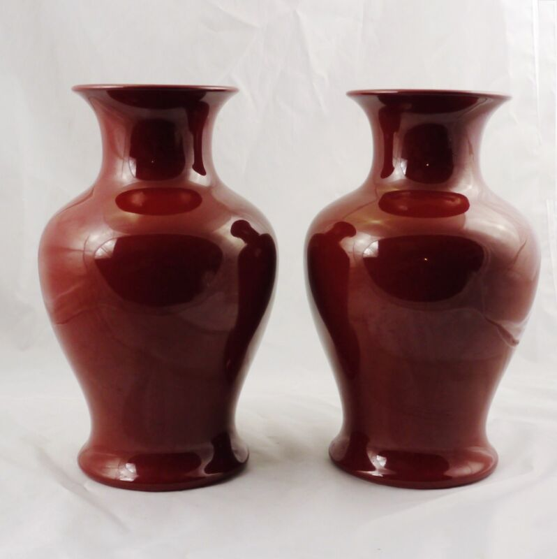"Pair of Fitz & Floyd Sang de Boeuf Oxblood Vases 12"" Circa 1978 Excellent"