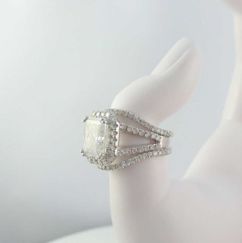 5 Carat Accented Diamond Halo Ring Cushion Split Shank 14 Karat White Gold