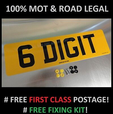 SHORT 6 DIGIT 410mm x 111mm REAR CAR NUMBER PLATE  100% MOT & ROAD LEGAL