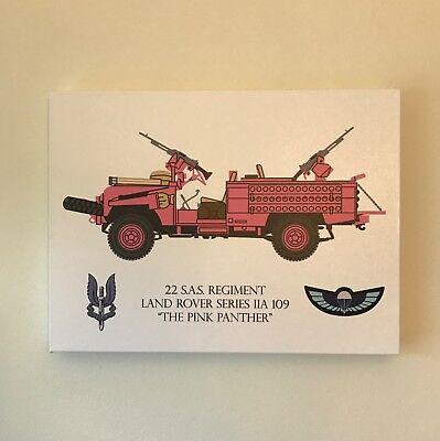 22 S.A.S. Regiment Pink Panther Land Rover Canvas Print & 3D PVC Morale Patch