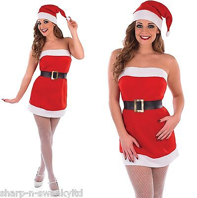 Ladies Sexy Christmas Cracker Mrs Claus Santa Fancy Dress Costume Outfit UK - Mrs Claus Outfit Uk