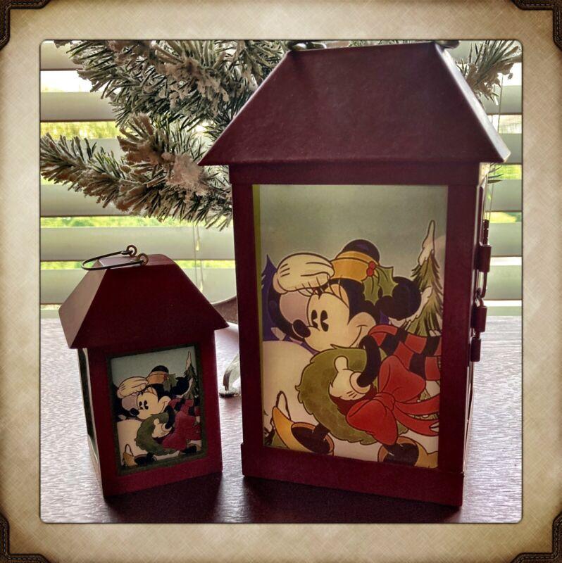 "Set of 2 Disney Lanterns ""Mickey & Minnie's Tree Farm"""