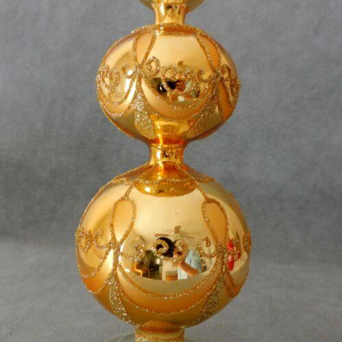 "Christmas Tree Topper Finial Glass Double Ball Gold Swirls Box 13"" USA SELLER"