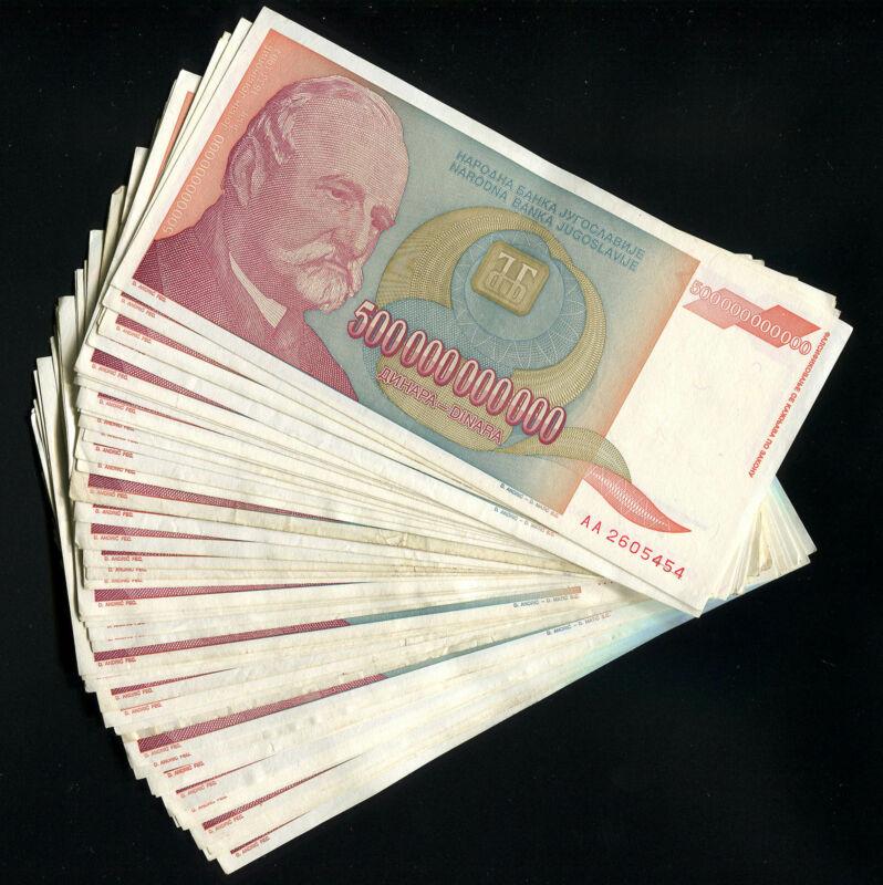 Yugoslavia LOT of 50 notes - 500 Billion Dinara P-137 1993 HYPERINFLATION (F-XF)