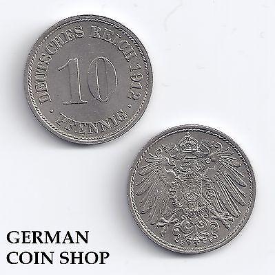 FEHLPRÄGUNG Stempelbruch Kaiserreich 10 Pfennig 1912 F - TOP ZUSTAND