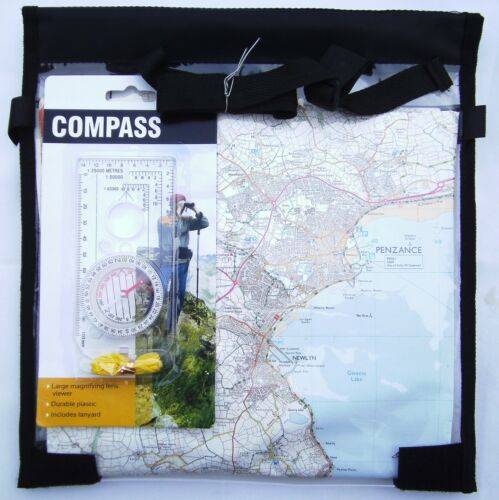 Deluxe Compass & Waterproof  Map Case Cover Walking Hiking Scouts DOE Cycling
