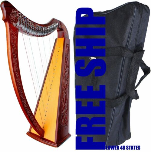 """ROSEWOOD CELTIC IRISH """"LEVERS"""" HARP 22 STRINGS WITH BAG DH-820"""