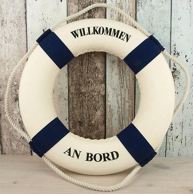 """Rettungsring 35cm blau/weiß """"Willkommen an Bord"""" für die maritime Dekoration"""
