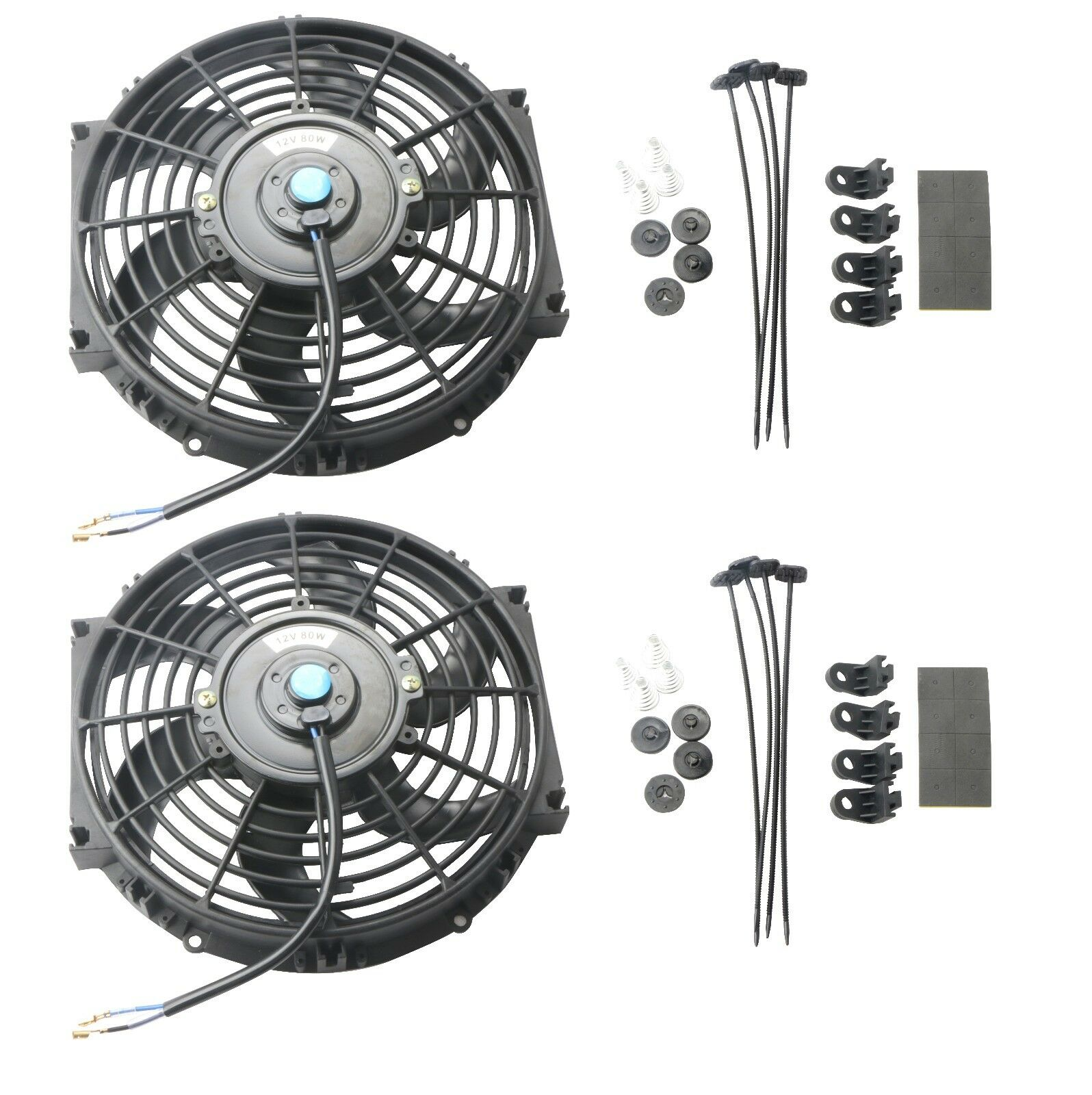 "2x 9/"" Universal Slim Fan Push Pull Electric Radiator Cooling Motor Kit Black"