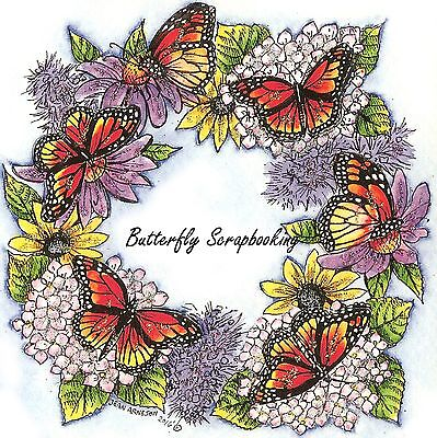 MONARCH BUTTERFLY FLOWER WREATH Wood Mounted Rubber Stamp NORTHWOODS PP9934 New ()