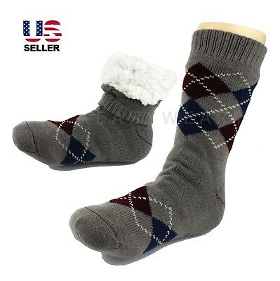Mens Thick Thermal Sherpa Lined Fur Soft Knit Warm Non-Skid Slipper Socks (Sherpa Lined Thermal)
