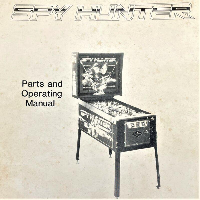 Bally Spy Hunter Pinball Machine Game Parts Operating Manual & Schematics +BONUS