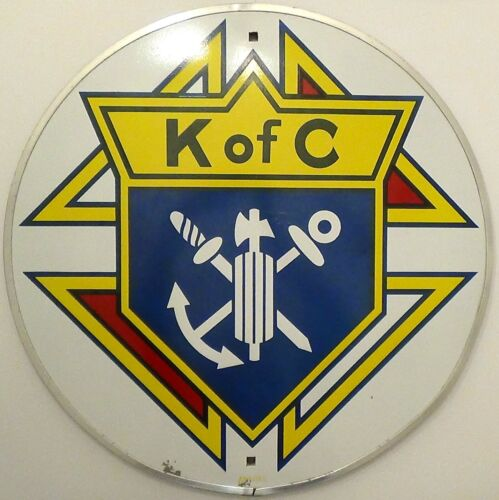 Large Vintage Colorful 24-Inch Metal Sign Advertising K of C Knights of Columbus