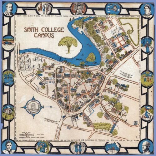 Smith College Campus Massachusetts buildings 1928 pictorial map POSTER 11366