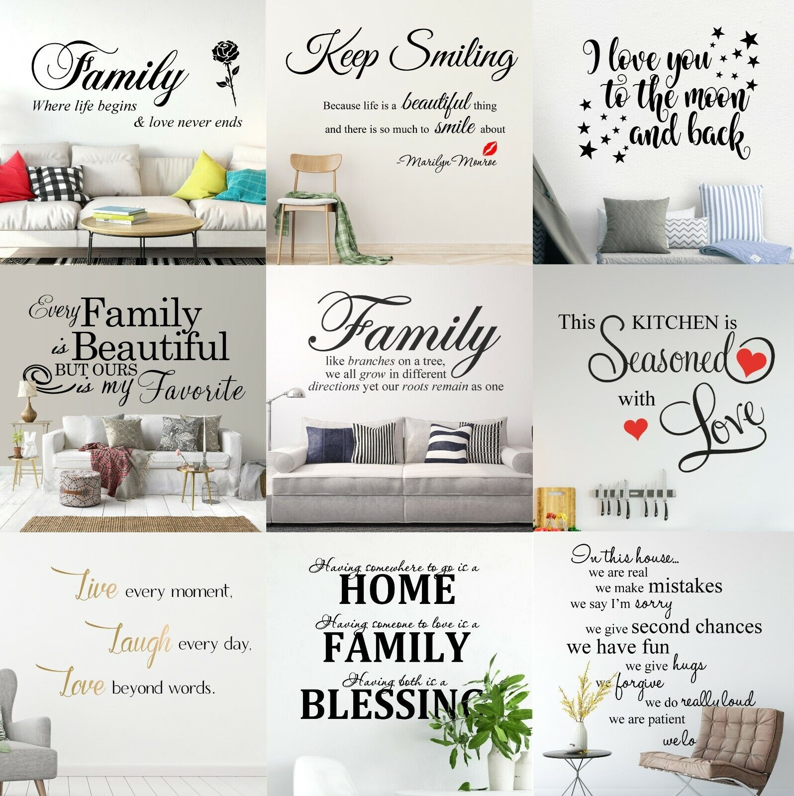 Home Decoration - Custom Quotes Wall Stickers Family Removable Vinyl Decal Mural Home Decoration