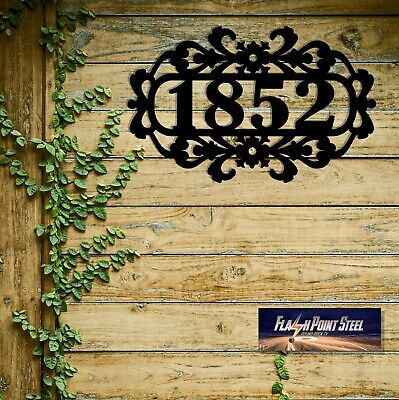 Home address number, address signs, door number, Plasma cut steel sign,Steel Art Home Address Sign Art