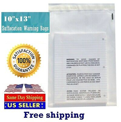 200 10x13 Suffocation Warning Clear Poly Self Seal Bags 1.5 Mil -st Shipmailers