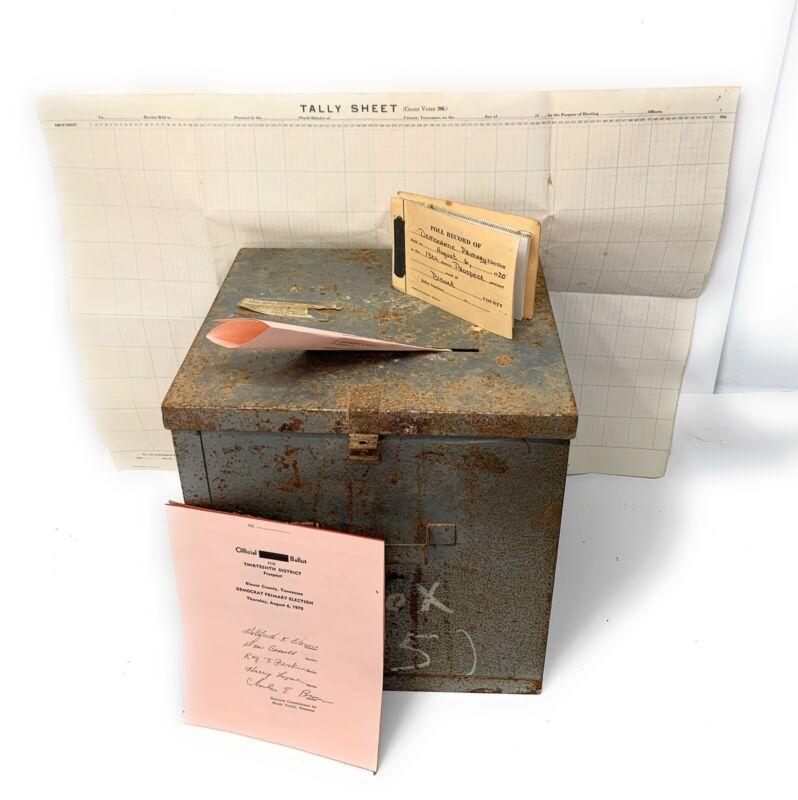 VTG Rural Ballot Voting Box Chest Galvanized Metal Democratic Primary Election