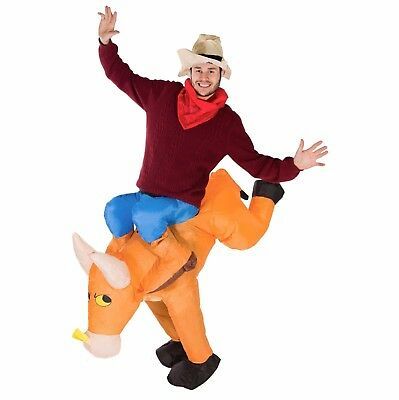 Adult Inflatable Bull Rider Carry On Costume Outfit Suit Halloween Stag One Size
