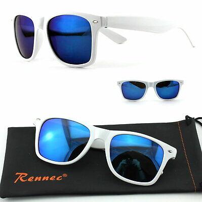 Nerd Sonnenbrille 2019 Retro Brille Weiß Blau Damen Herren Brillenbeutel Qw1 ()
