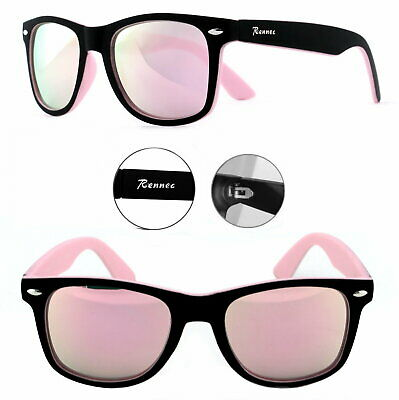 Rennec Sonnenbrille Nerd Retro Bi Color Rosa Rose Verspiegelt Brillenbeutel R10 ()
