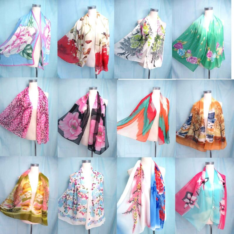 *US SELLER*lot of 10 chiffon scarf for all seasons Wholesale Bulk Fashion Scarf