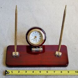 Table top Clock and pen wood stand  - very polished and beautiful  -see pictures
