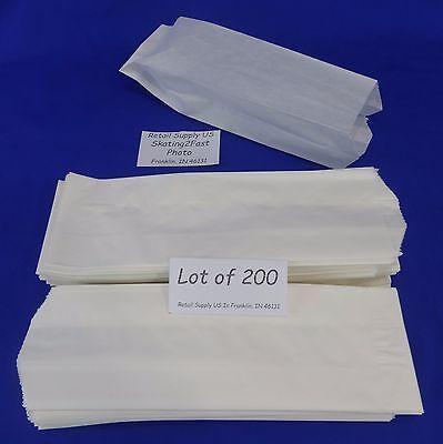 Qty 200 Hot Dog Paper Bags Concession Machine Supplies 3 X 2 X 8.75