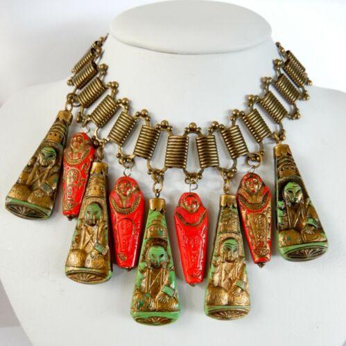 Vintage Max Neiger Necklace Egyptian Art Glass Choker