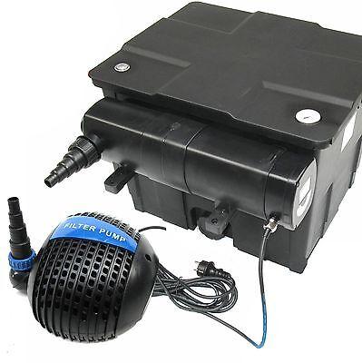 Koi Teich - Set: Teichfilter 12000 Ltr + UVC Lichtfilter 24 W + Pumpe 4600 Ltr