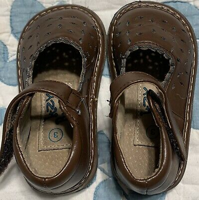 Itzy Bitzy Baby Toddler Girl's Size 3 Brown Slip On Shoe With Velcro Strap