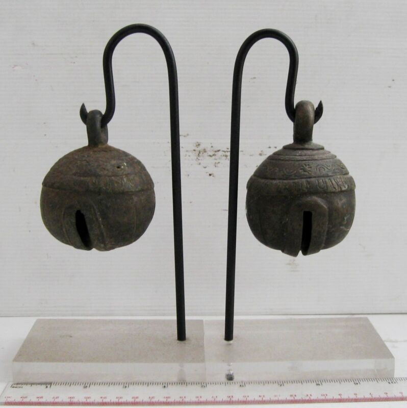 RUSTIC Set of 2 Old Karen Hill Tribe Bronze Round Elephant Bell 2 FREE STANDS