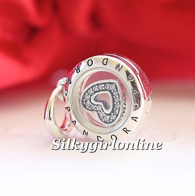 Authentic Pandora Sterling Silver Floating Locket with CZ Heart Pendant 792144CZ
