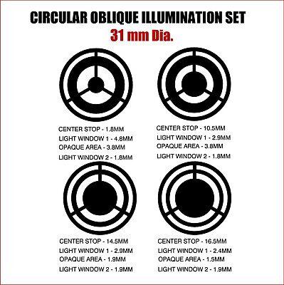 31mm Diameter Circular Oblique Illumination Col Microscope Filter Set