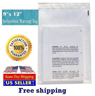 9x12 Clear Bags Suffocation Warning Self Seal Bag 1.5 -st Shipmailers