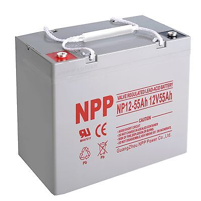 NPP 12V 55 Amp 12 Volt 55Ah Group 22 Universal AGM Battery Replace UPG UB12550
