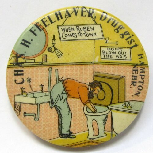 c.1910 CHAS. H. FEELHAVER DRUGGIST Hampton NEBRASKA comic pocket mirror *
