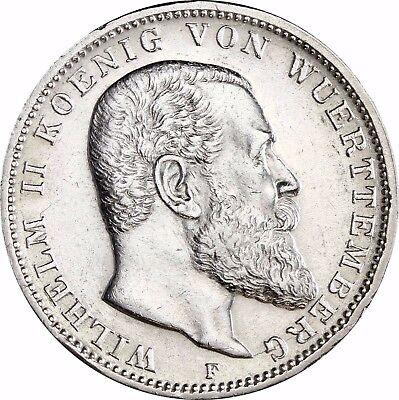 Jäger 175 - Württemberg - 3 Mark Silber Wilhelm II 1908 - 1913 in Münzkapsel