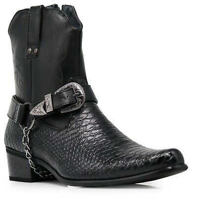 Men Black Cowboy Western Boots  Leather Line Motorcycle Crocodile Print Nippon