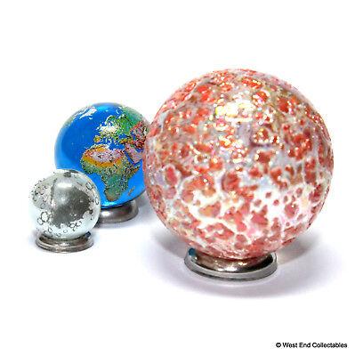 "Earring Jewellery Making Stones 2 x 14mm Lunar Moon Globe Glass Marbles 0.5/"""
