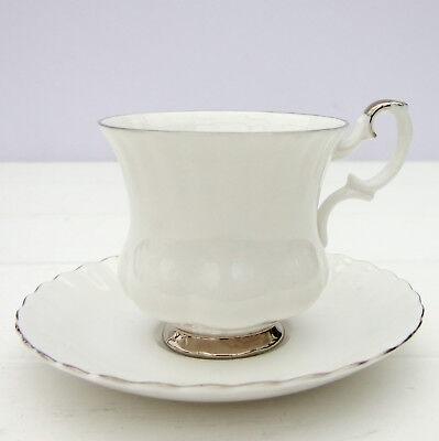 Vintage Royal Albert Chantilly Bone China White Coffee Cup Saucer Duo Chantilly Bone China