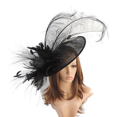 Black Large Fascinator Ascot Kentucky Derby Proms A6