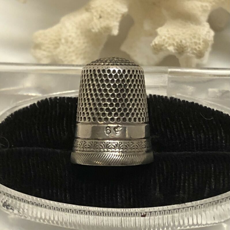 Antique STERLING SILVER SEWING THIMBLE-W/ENGLISH HALLMARK (Size 6)-2.9 Grams