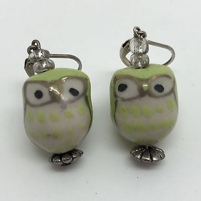 Owl Drop Earrings w/ Lime Green Porcelain Bead Owls Spotted Chests (RF663)