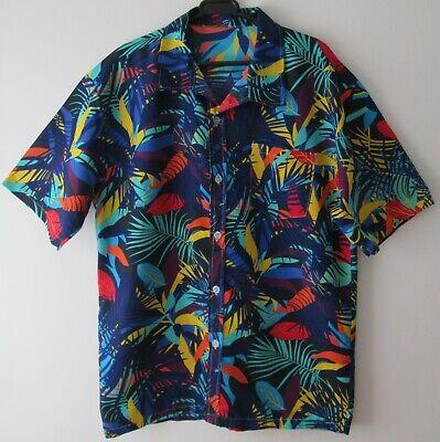"Vintage 80s Vibrant Tropical Palms Hawaiian Shirt 48""-122cm L (682H)"