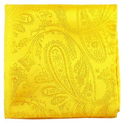 New Men's Polyester Woven pocket square hankie only yellow paisley prom wedding