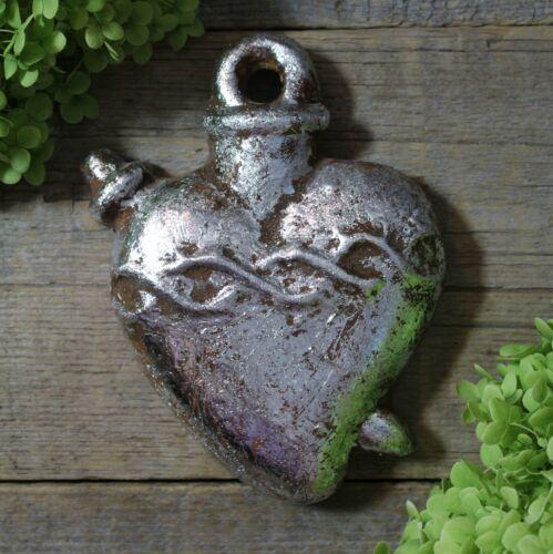 Silver Metallic Heart Milagro Handmade Clay by Rafael Pineda Mexican Folk Art