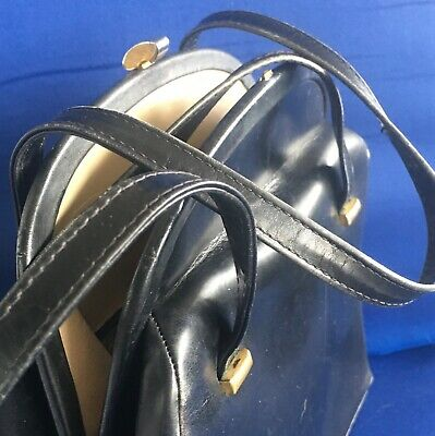 1950s Handbags, Purses, and Evening Bag Styles Vintage 1950's Dofan Paris France Dark Brown Leather Handbag Satchel Purse Bag $9.99 AT vintagedancer.com