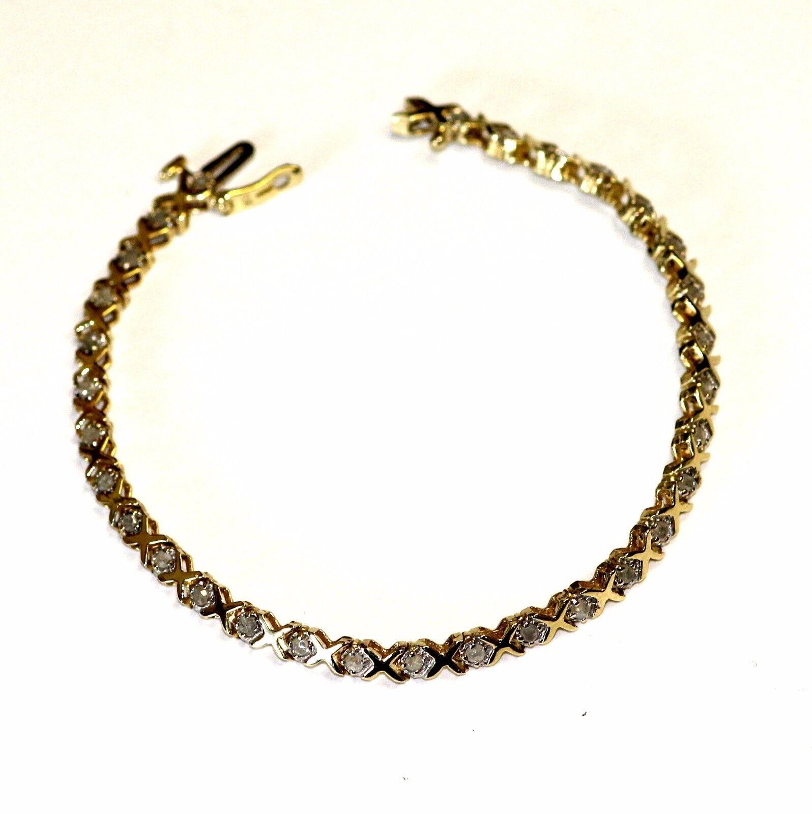 Xoxo Gold Bracelet: 10k Yellow Gold .93ct Diamond XOXO Tennis Bracelet 6g