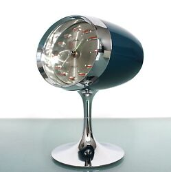 CLOCK Alarm RHYTHM 51141 CHROME! METAL Pedestal! RETRO! Space Age Vintage Mantel